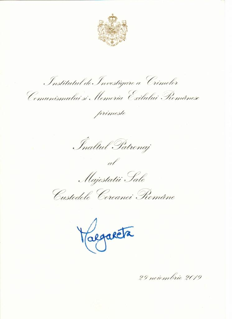 Înaltul Patronaj acordat de Majestatea Sa Margareta Custodele Coroanei, septembrie 2020